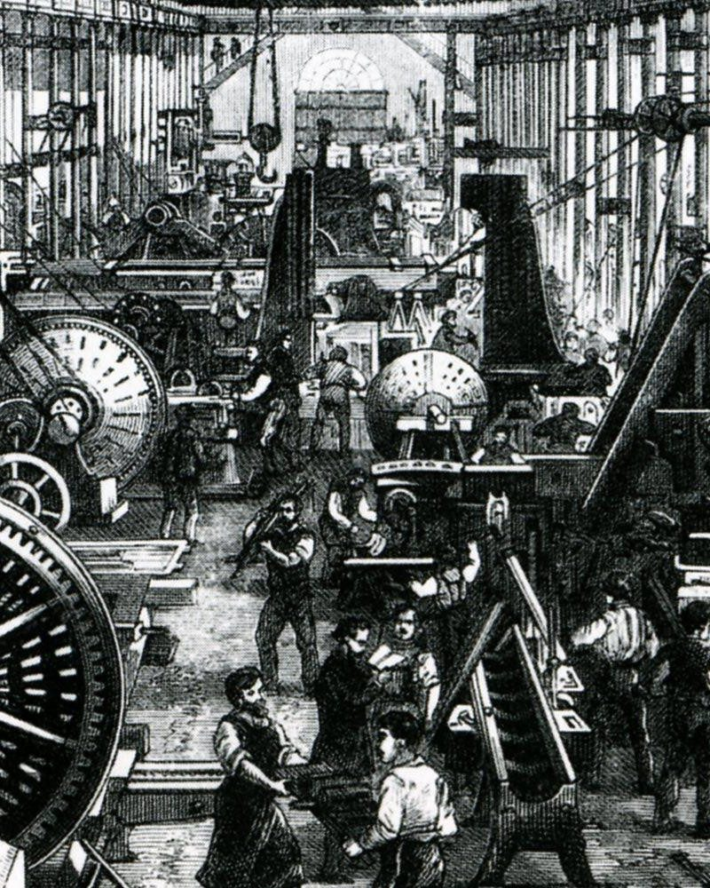 A factory during the Industrial Revolution
