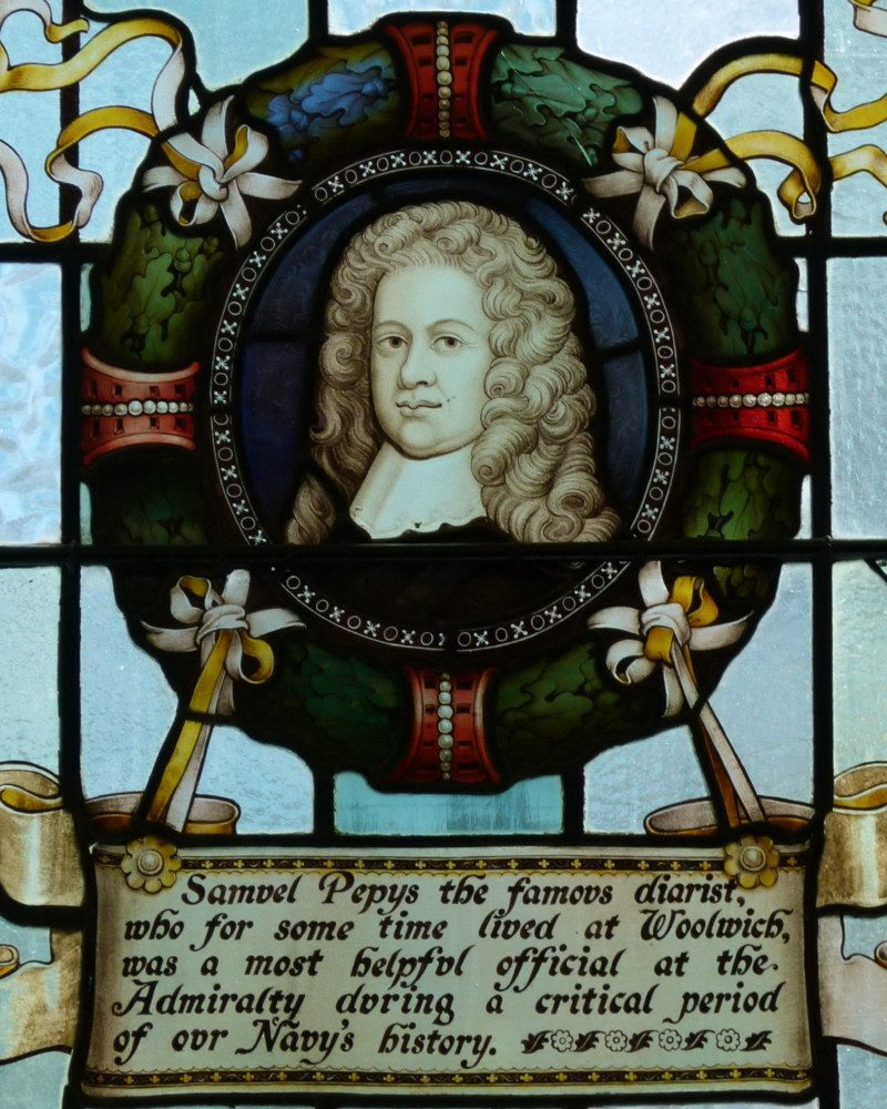 Samuel Pepys stained glass