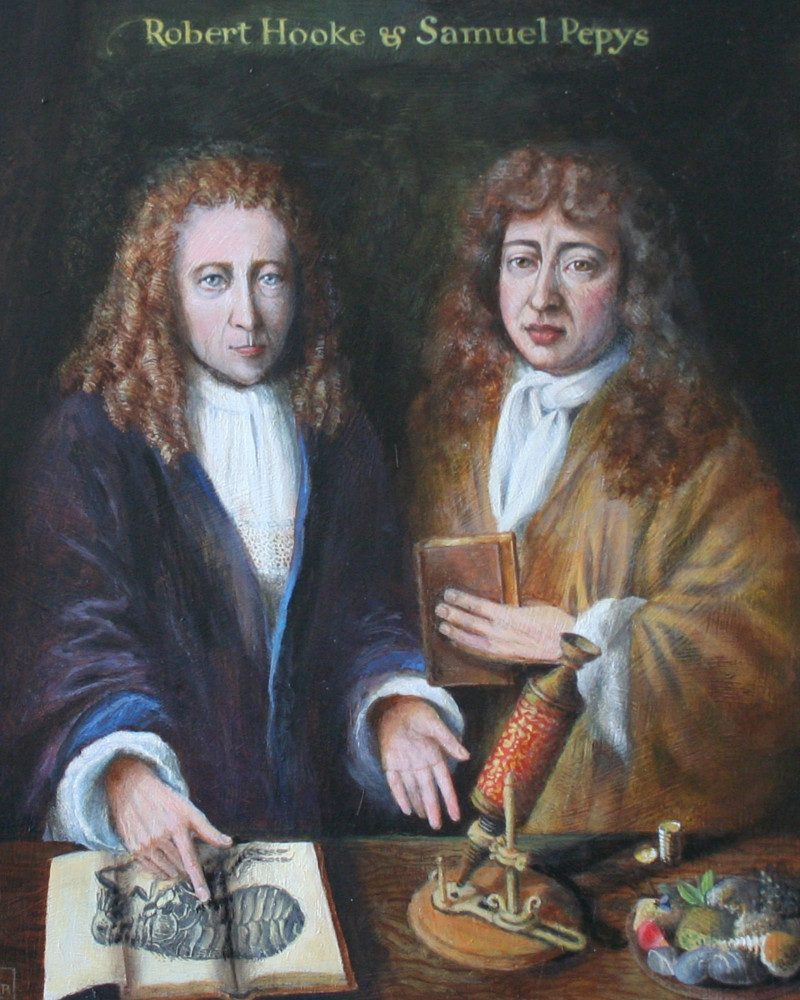 Samuel Pepys and Robert Hooke. Credit Rita Greer